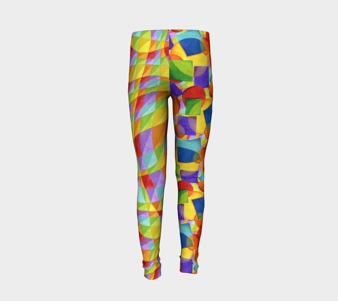 Candy Rainbow Plaid Youth Leggings preview #6