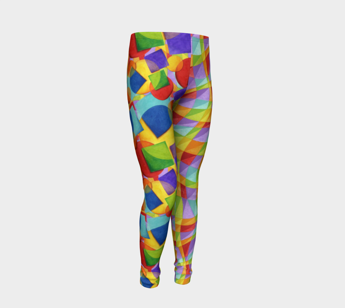 Candy Rainbow Plaid Youth Leggings preview #2