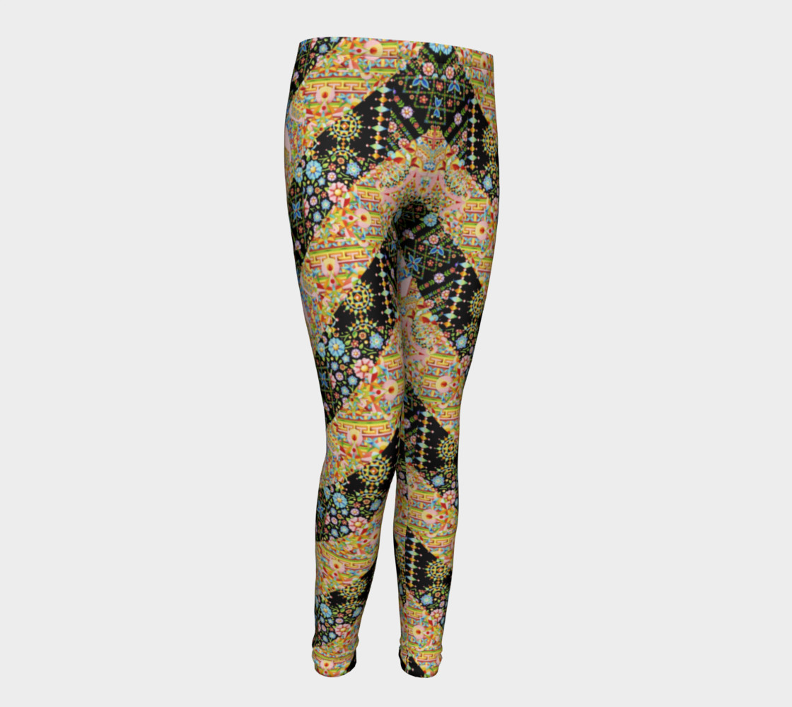 Crazy Patchwork Stripes Youth Leggings preview #1