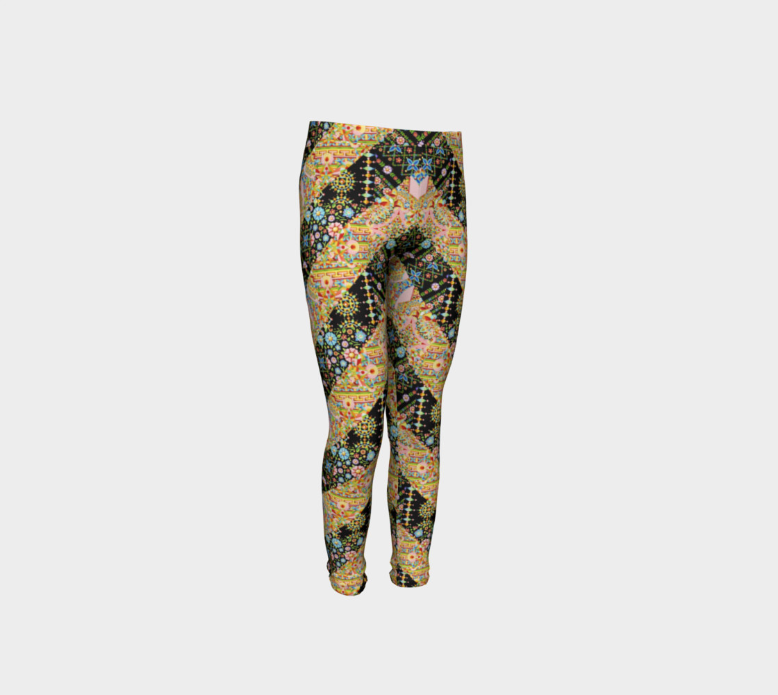 Crazy Patchwork Stripes Youth Leggings preview #4