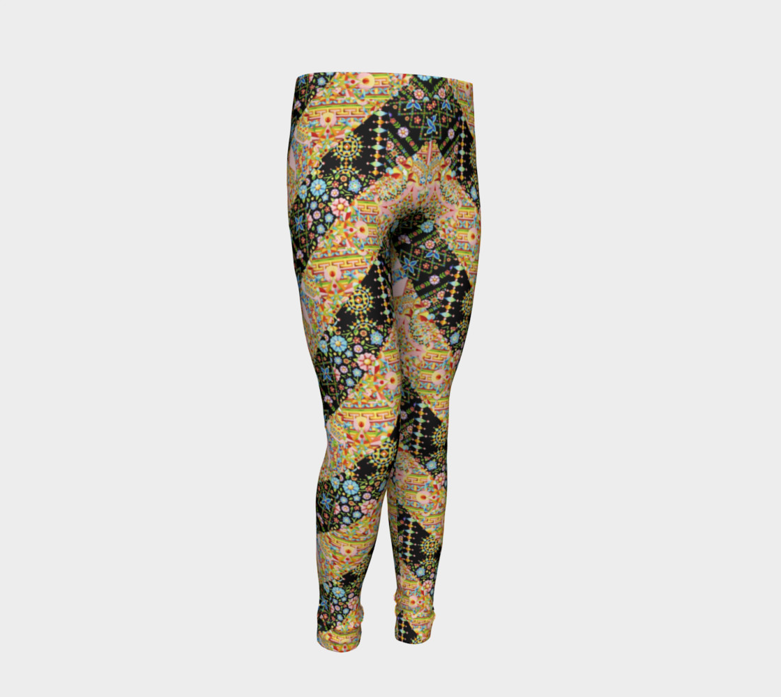 Crazy Patchwork Stripes Youth Leggings preview #2