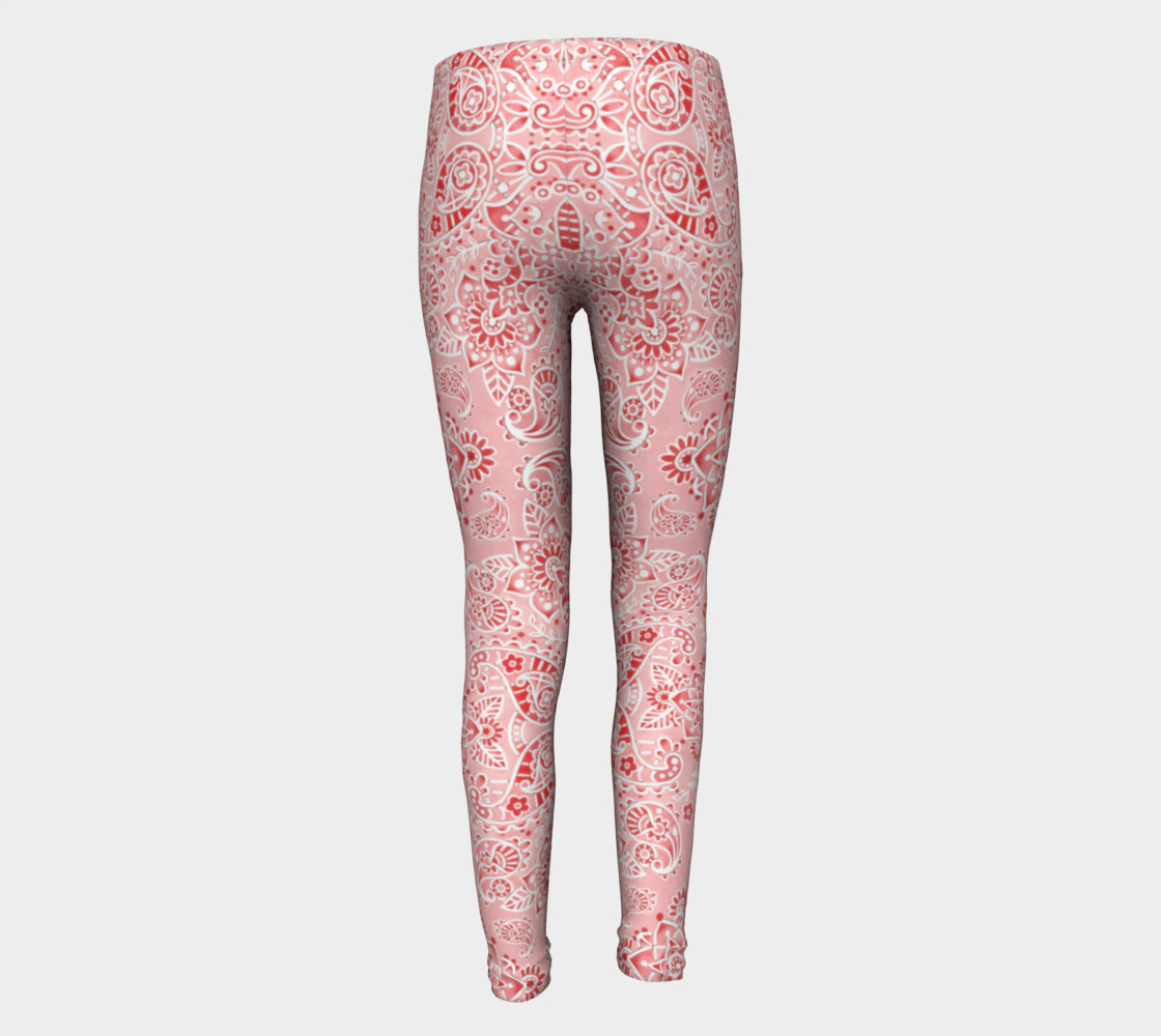 Pink Paisley Youth Leggings preview #5