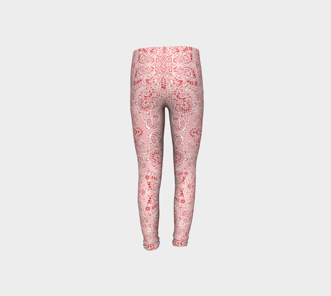 Pink Paisley Youth Leggings preview #8