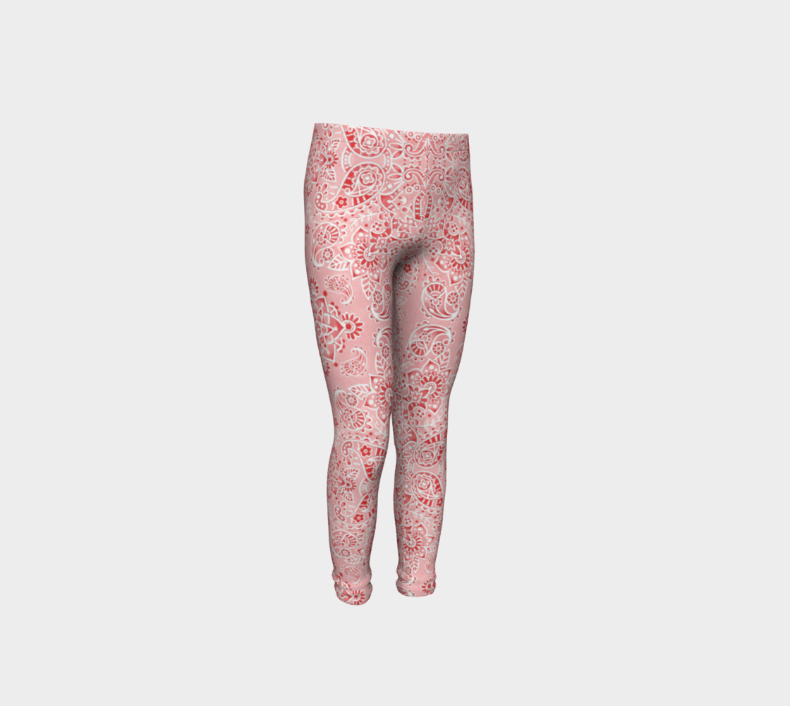 Pink Paisley Youth Leggings preview #4