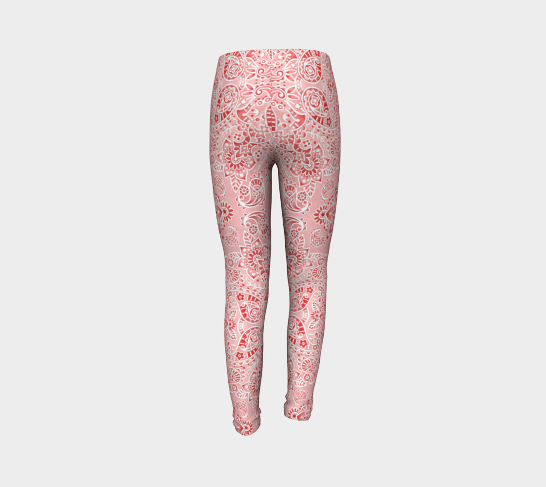 Pink Paisley Youth Leggings preview #7