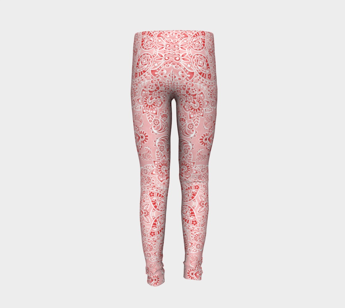 Pink Paisley Youth Leggings preview #6