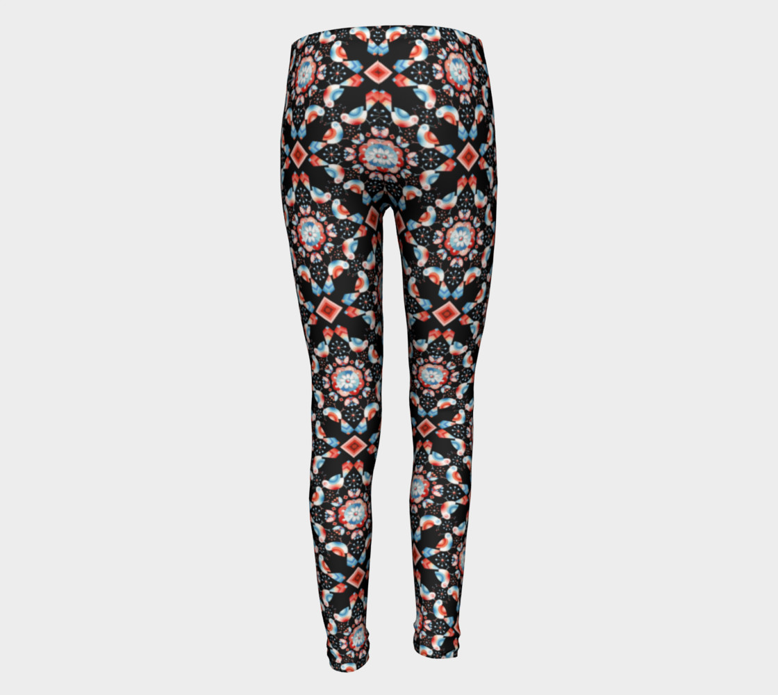 Folkloric Lovebirds Youth Legging preview #5