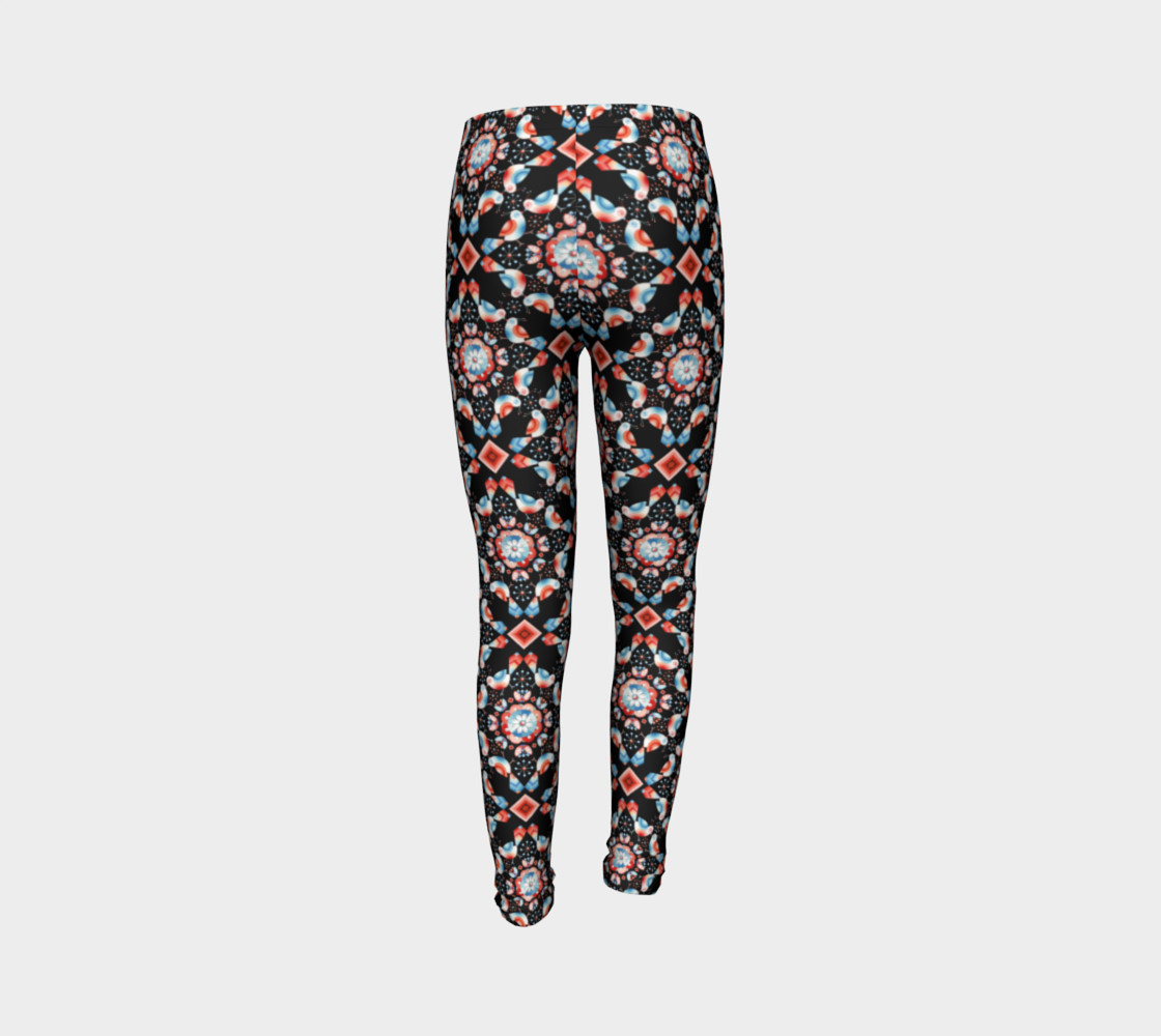Folkloric Lovebirds Youth Legging preview #7