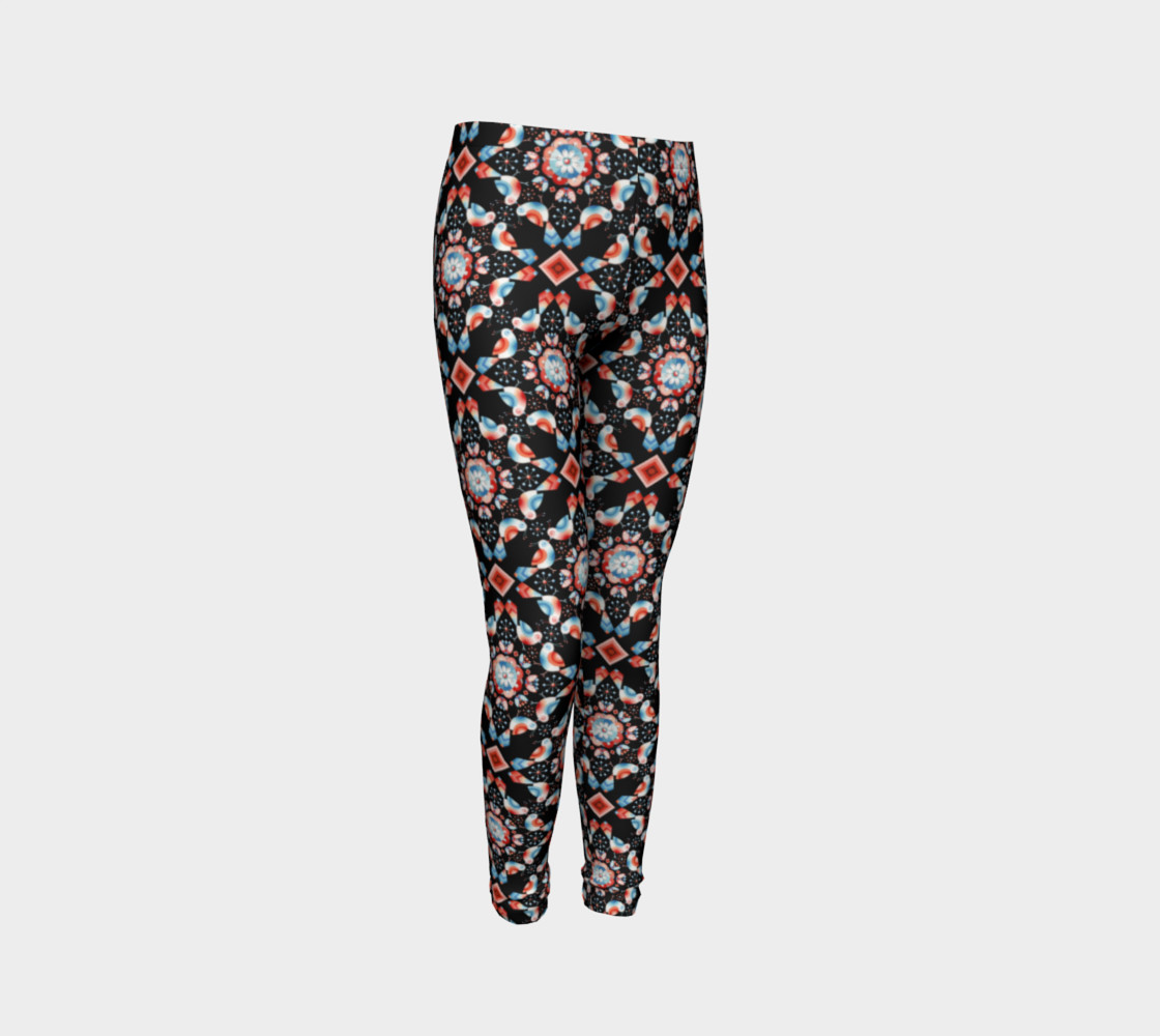 Folkloric Lovebirds Youth Legging preview #3