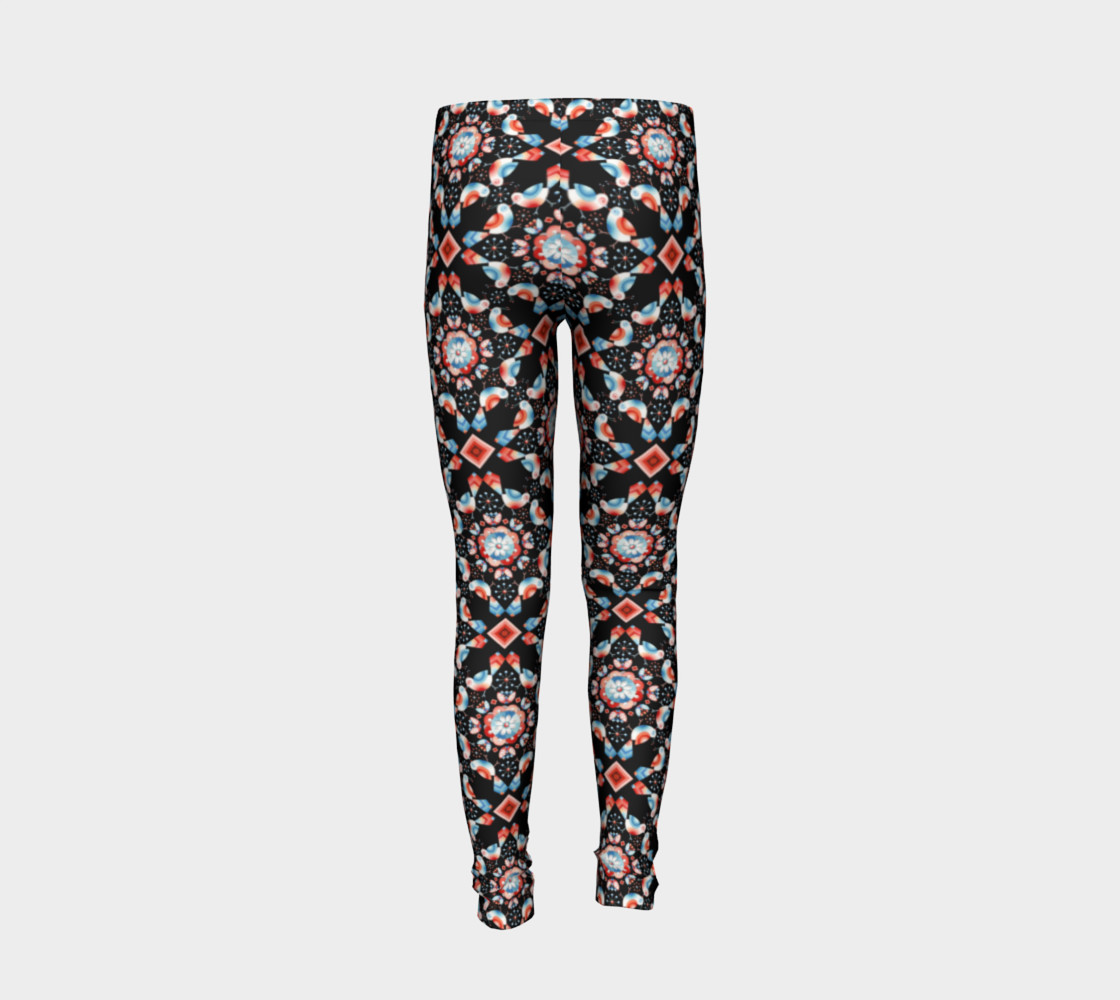 Folkloric Lovebirds Youth Legging preview #6