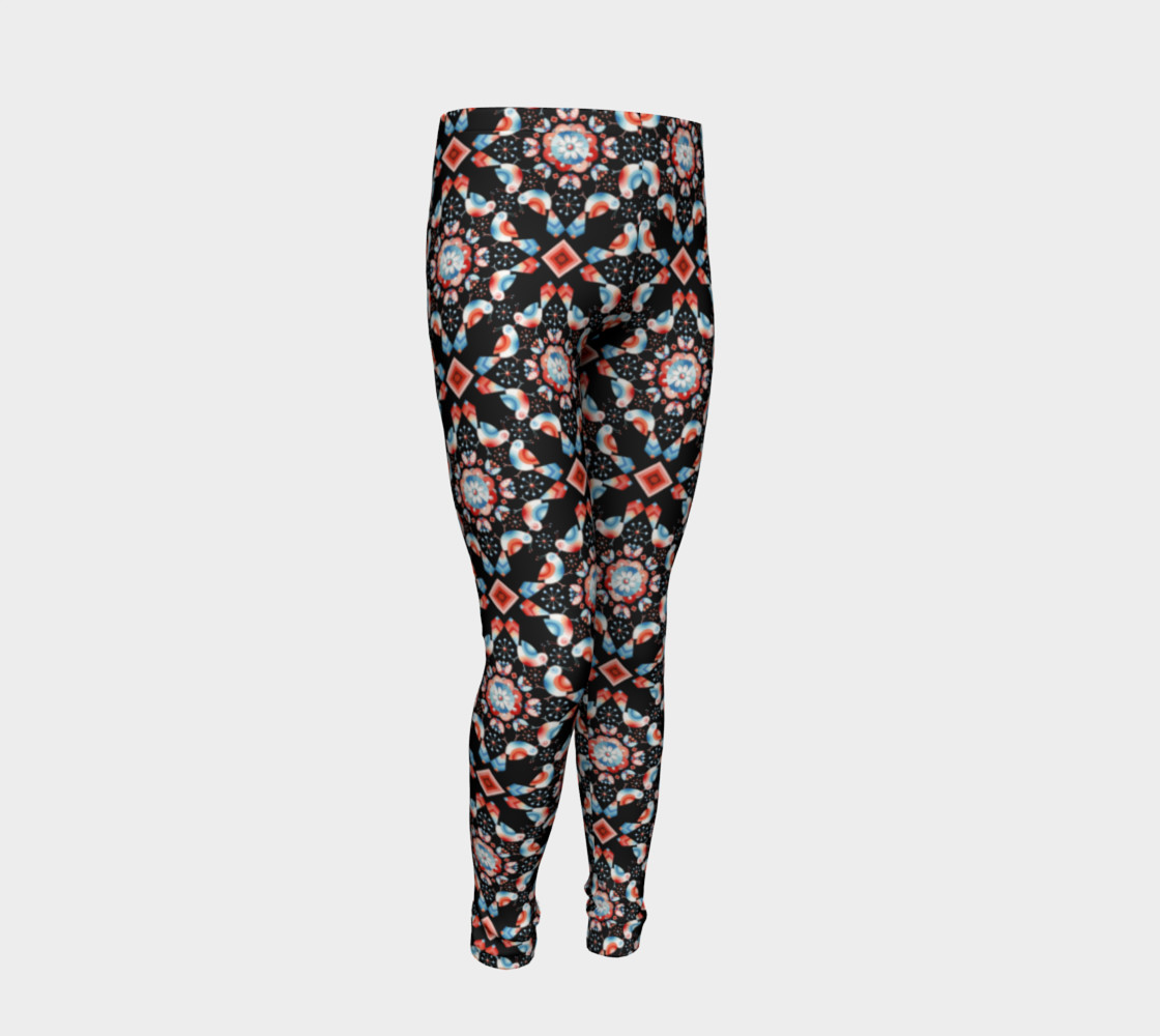 Folkloric Lovebirds Youth Legging preview #2