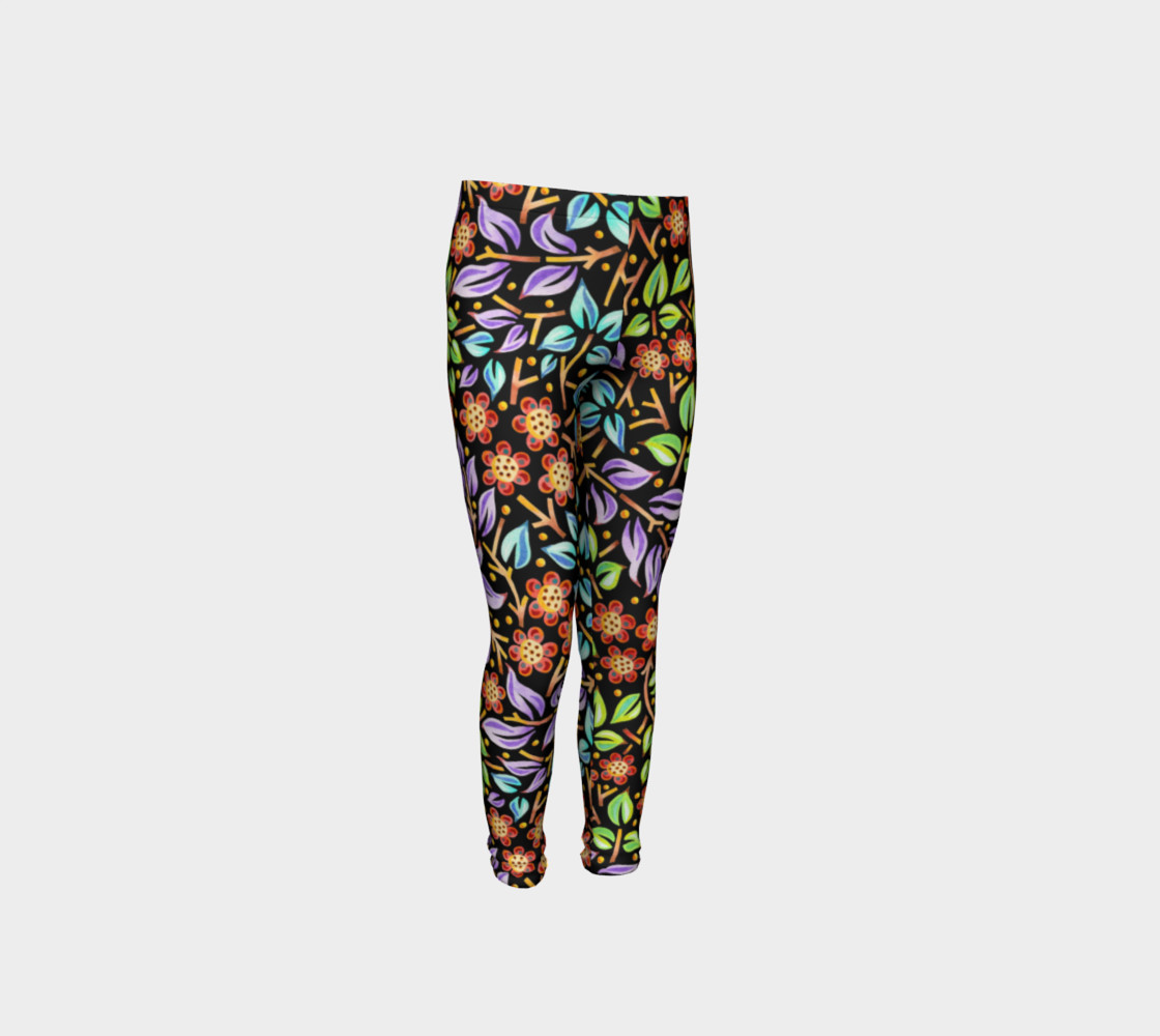 Filigree Floral Youth Leggings preview #4