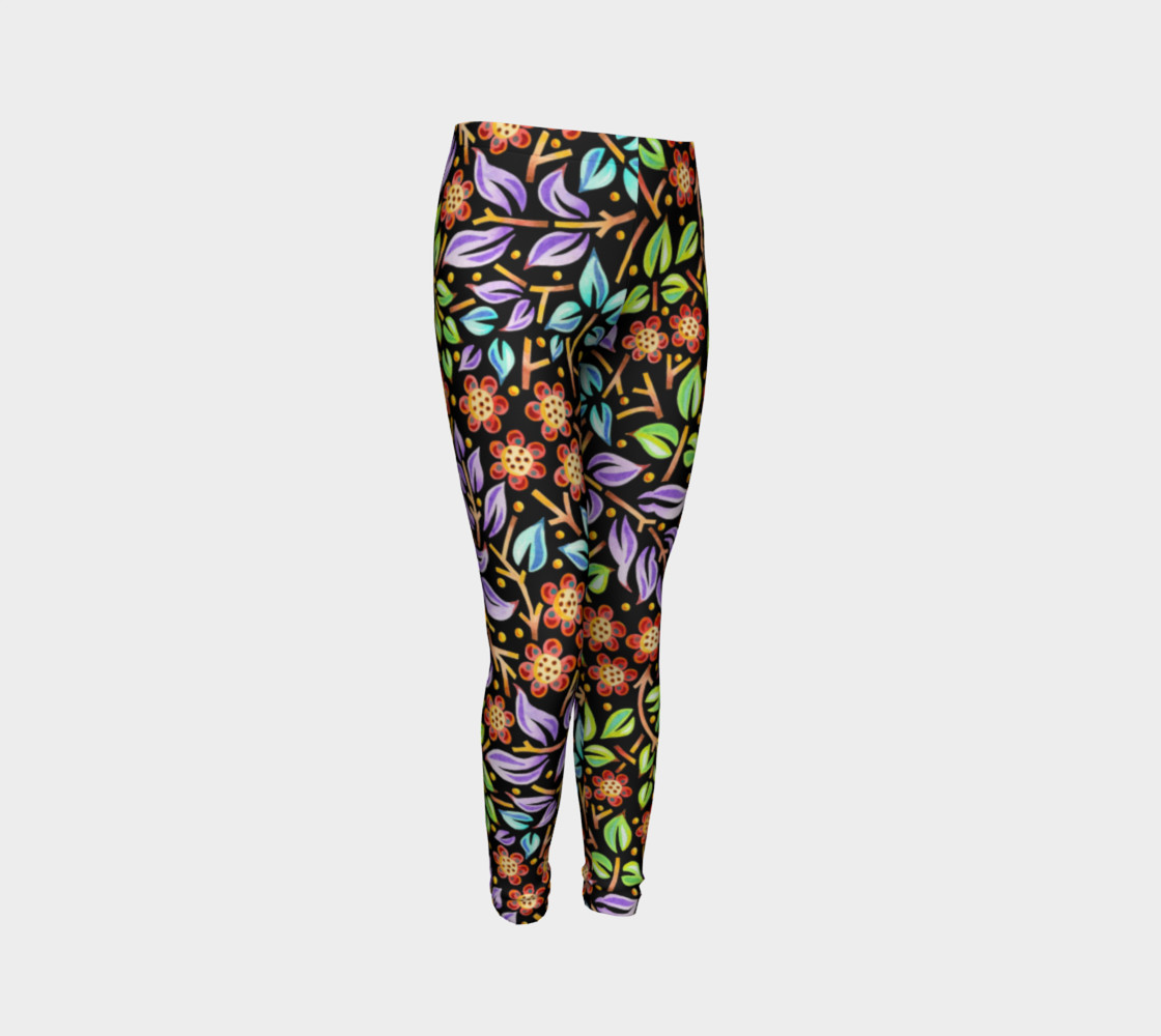 Filigree Floral Youth Leggings preview #3