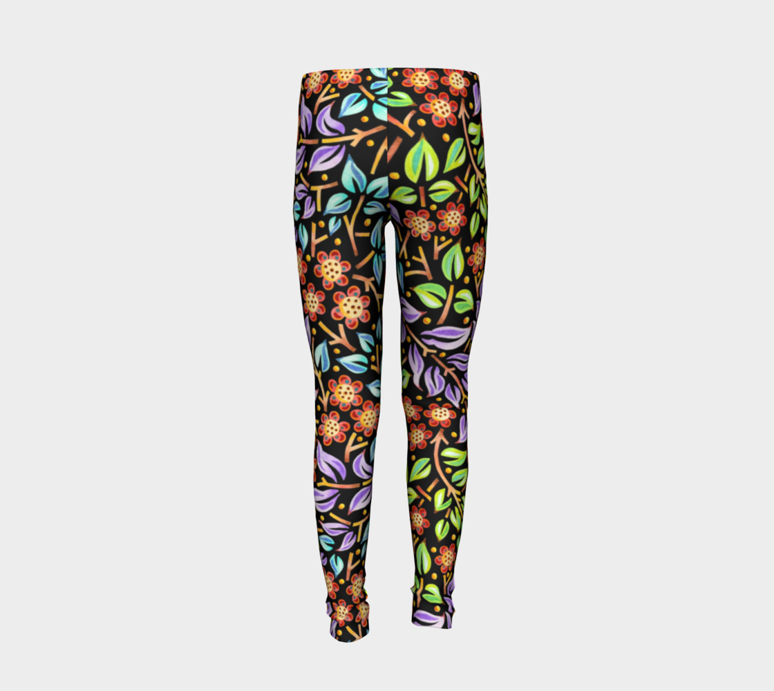 Filigree Floral Youth Leggings preview #6