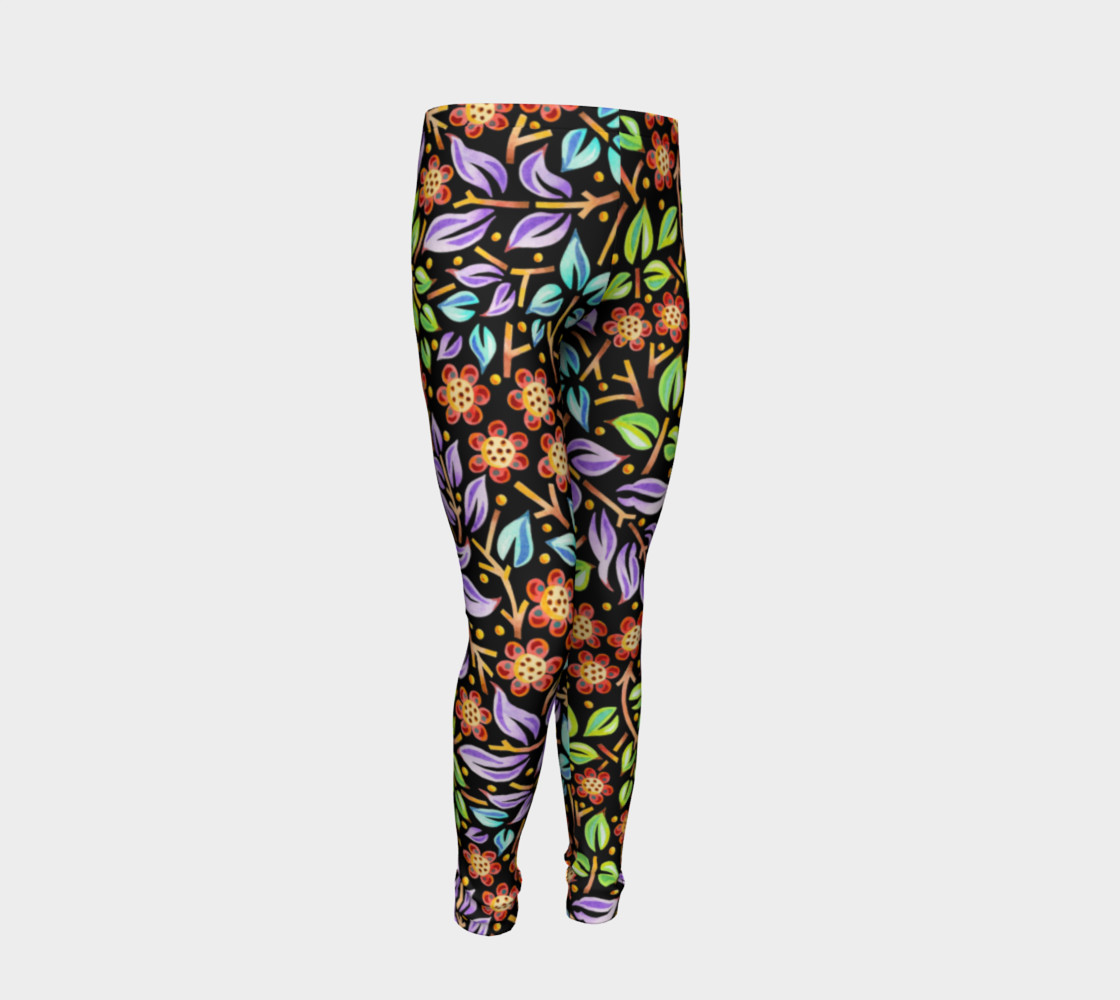 Filigree Floral Youth Leggings preview #2