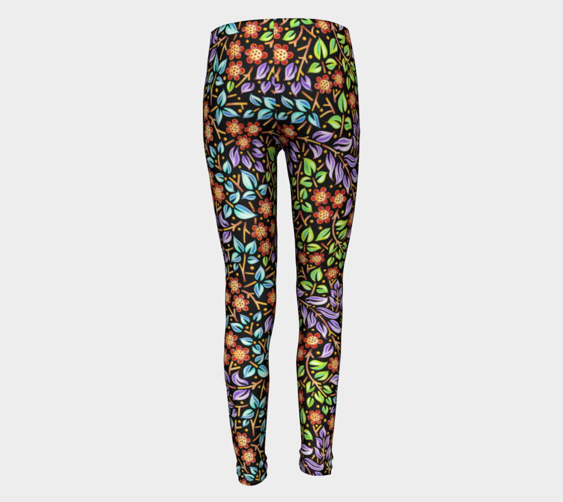 Filigree Floral Youth Leggings small print thumbnail #6