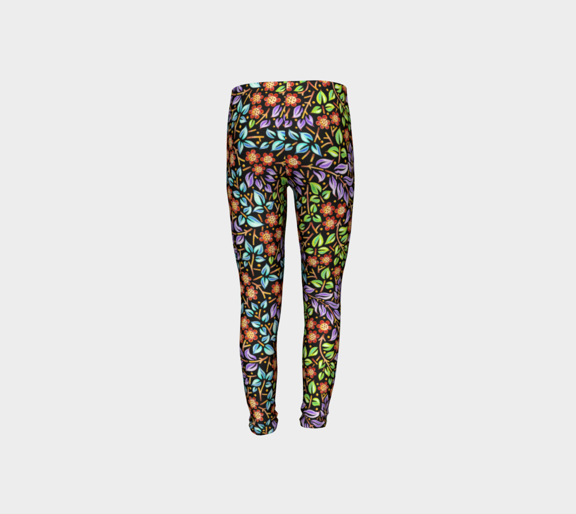 Filigree Floral Youth Leggings small print preview #8