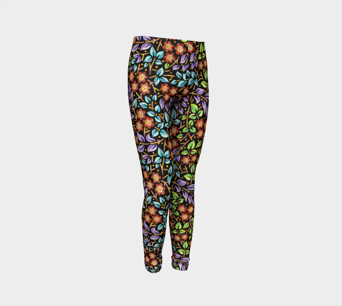 Filigree Floral Youth Leggings small print 3D preview