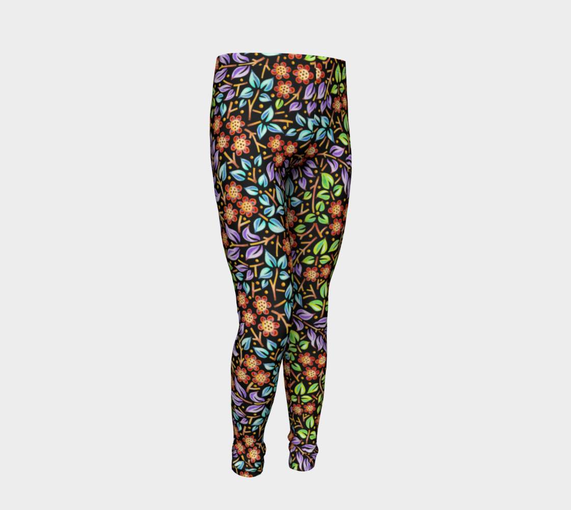 Filigree Floral Youth Leggings small print preview #2