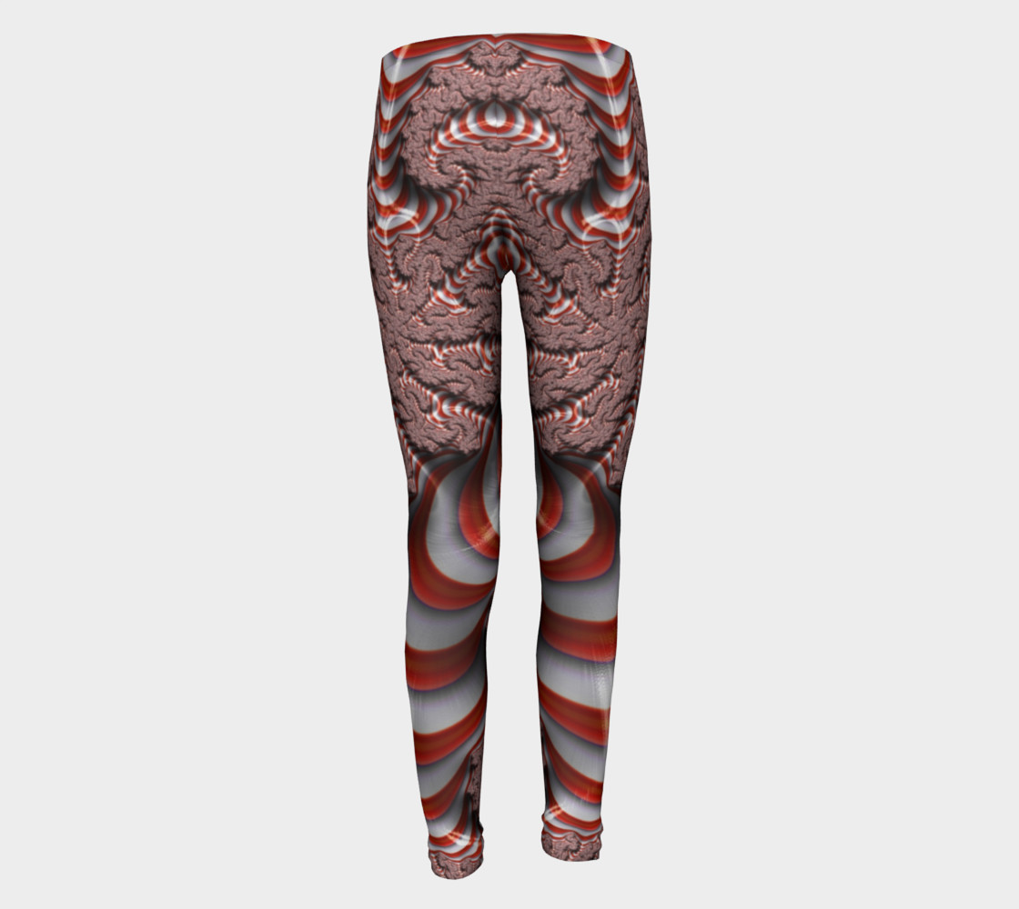 Candy Cane Fractal Christmas Youth Leggings preview #5