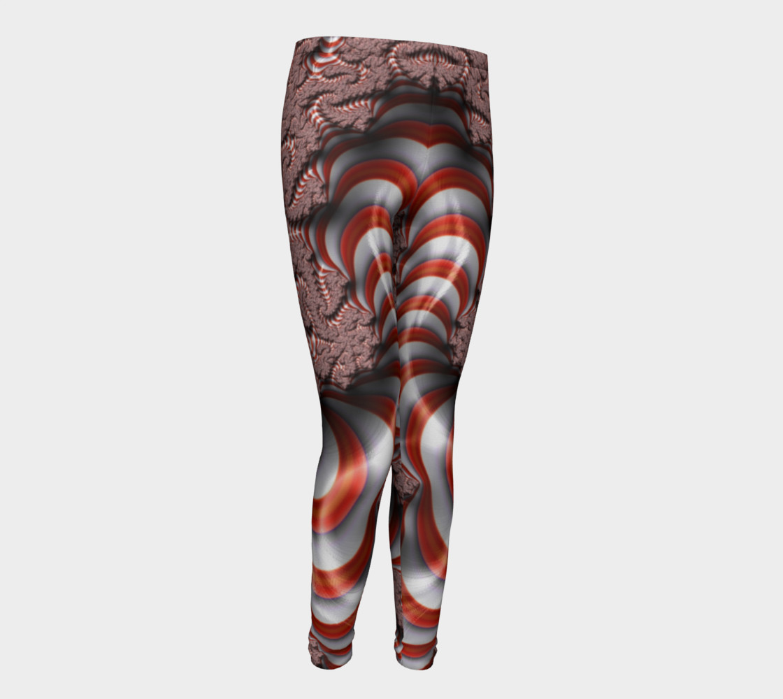 Candy Cane Fractal Christmas Youth Leggings preview #1