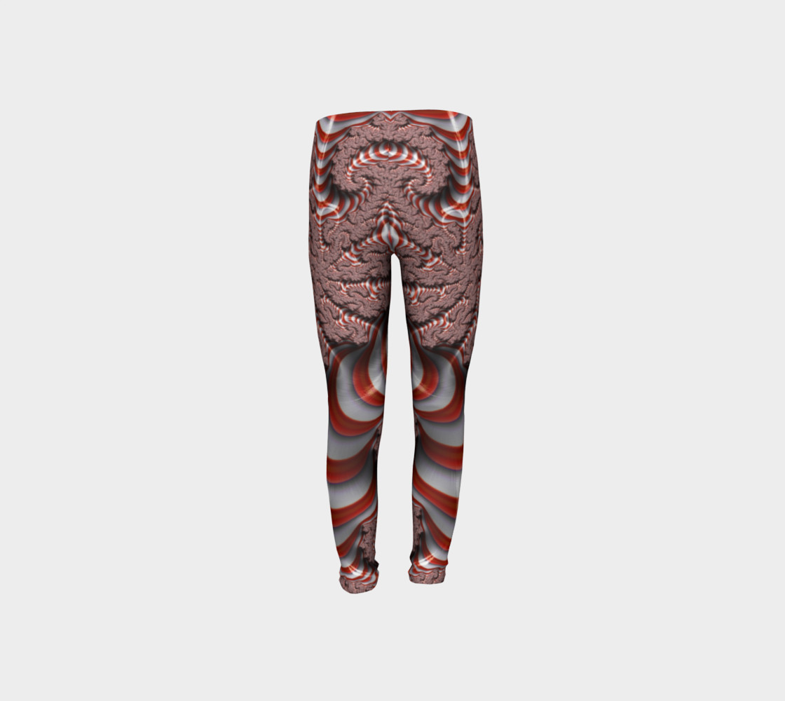 Candy Cane Fractal Christmas Youth Leggings preview #8