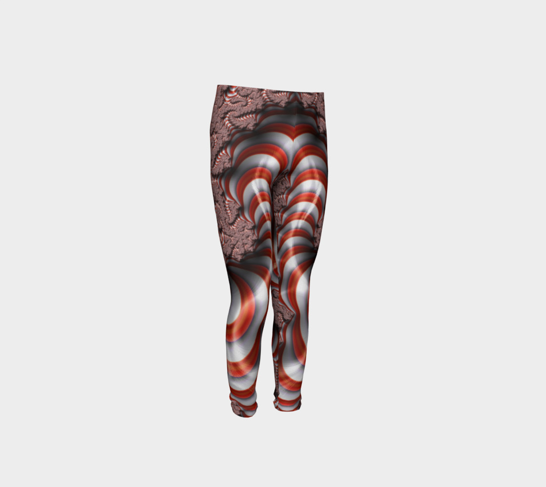 Candy Cane Fractal Christmas Youth Leggings preview #4