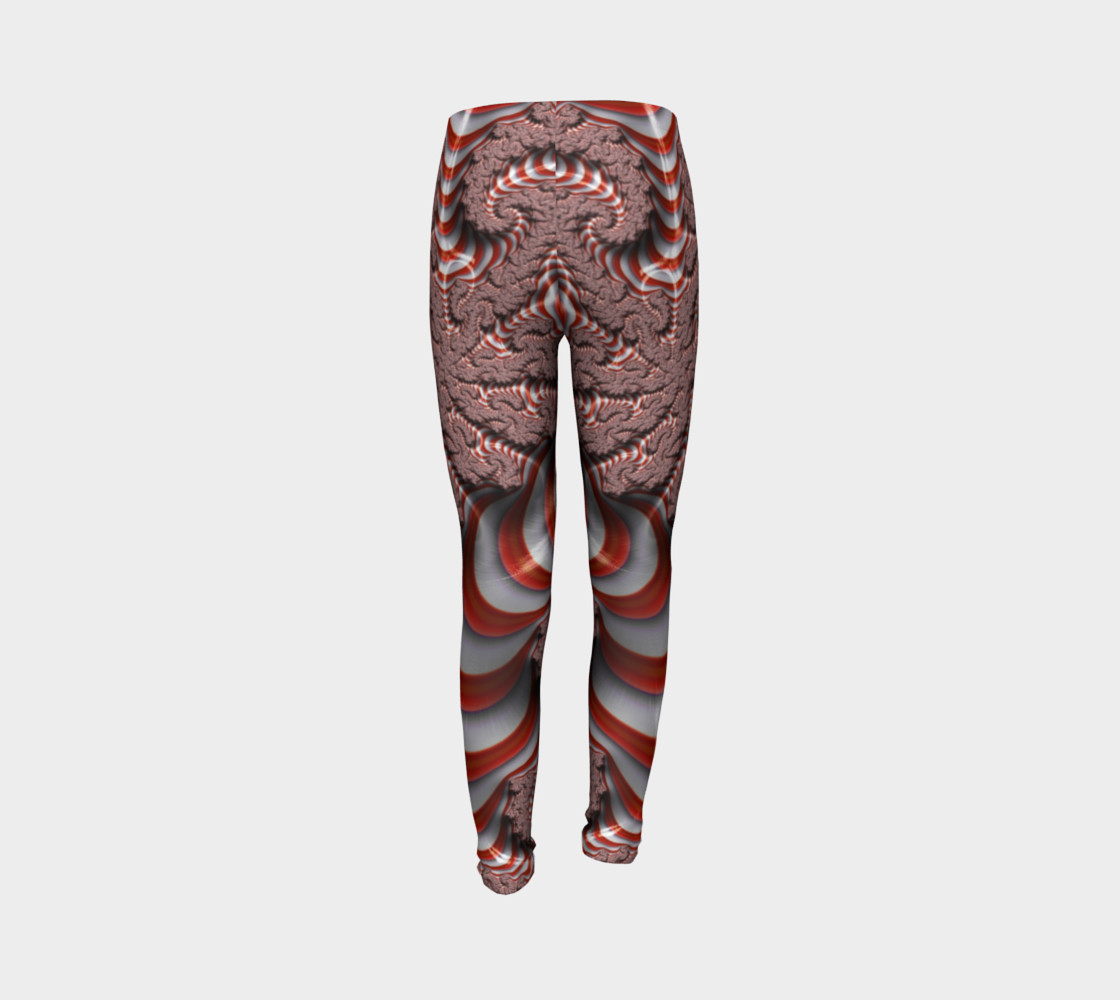 Candy Cane Fractal Christmas Youth Leggings preview #7