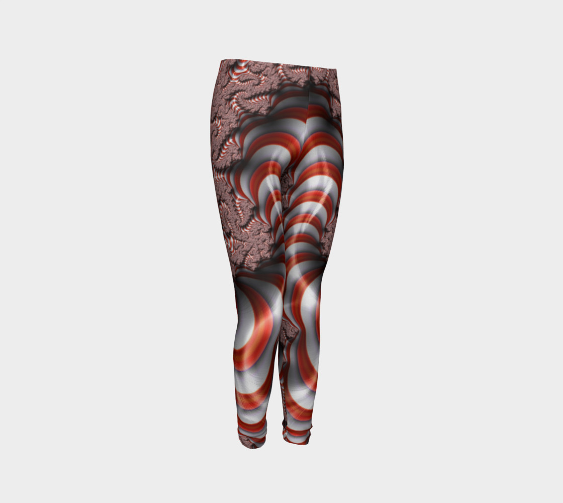 Candy Cane Fractal Christmas Youth Leggings preview #3