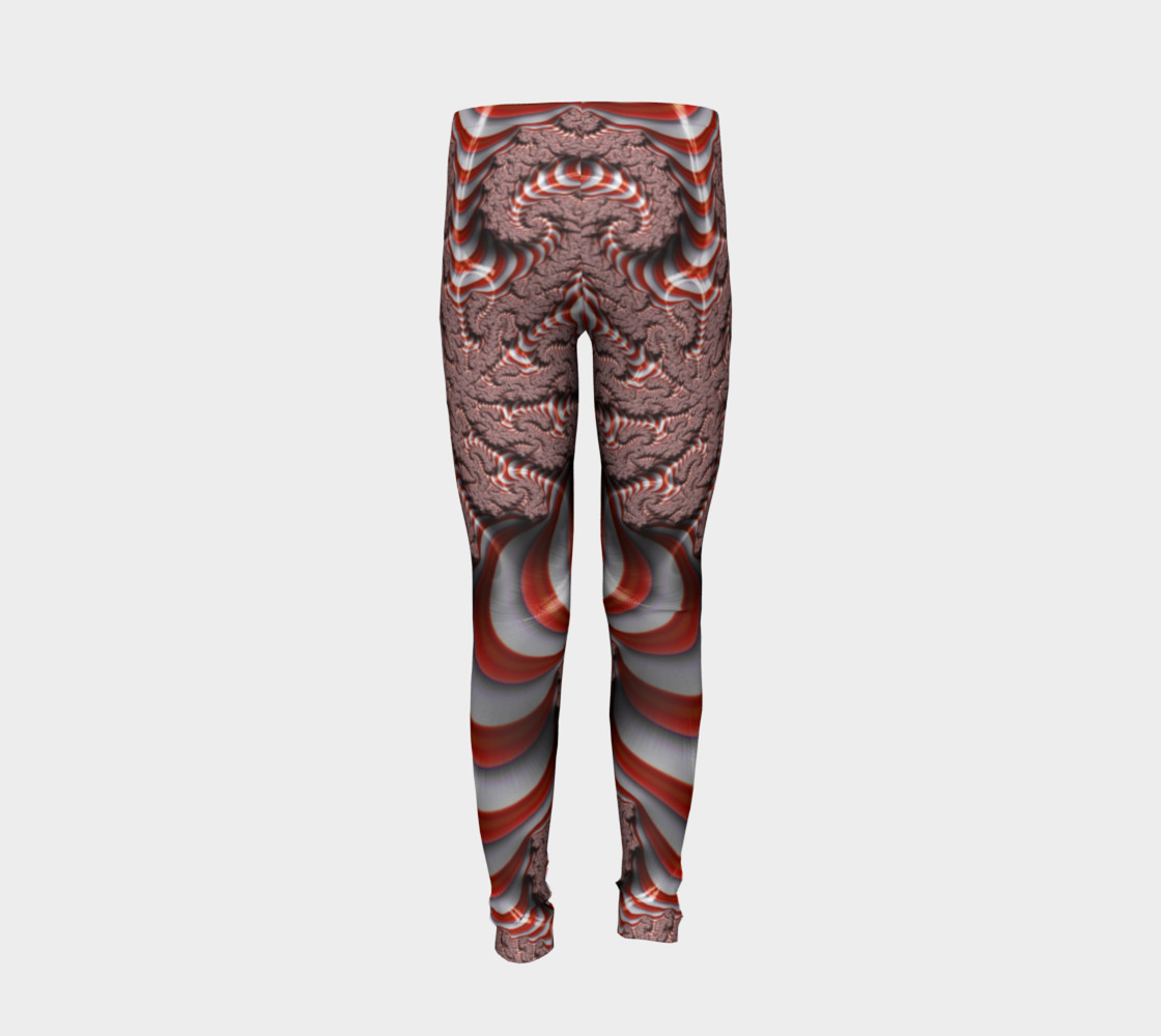 Candy Cane Fractal Christmas Youth Leggings preview #6