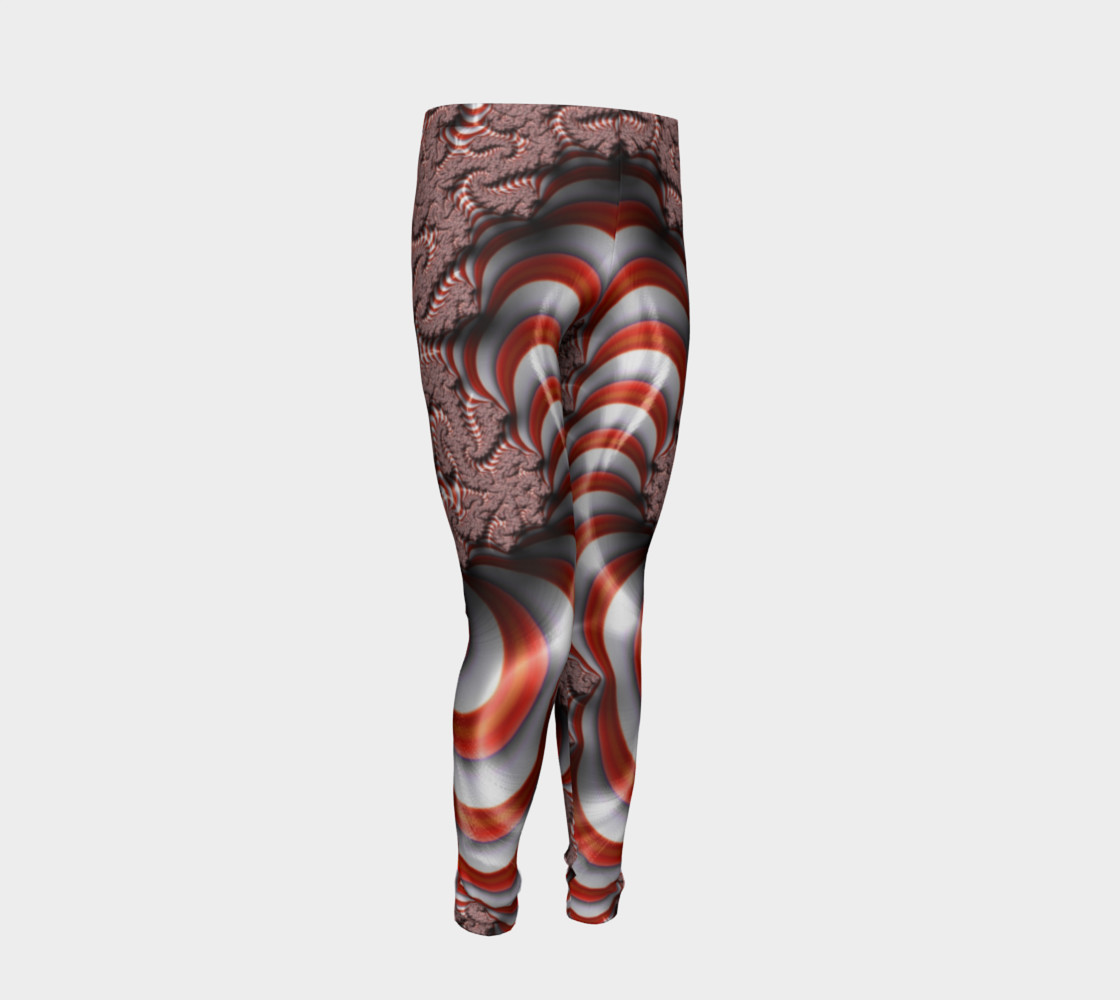 Candy Cane Fractal Christmas Youth Leggings preview #2