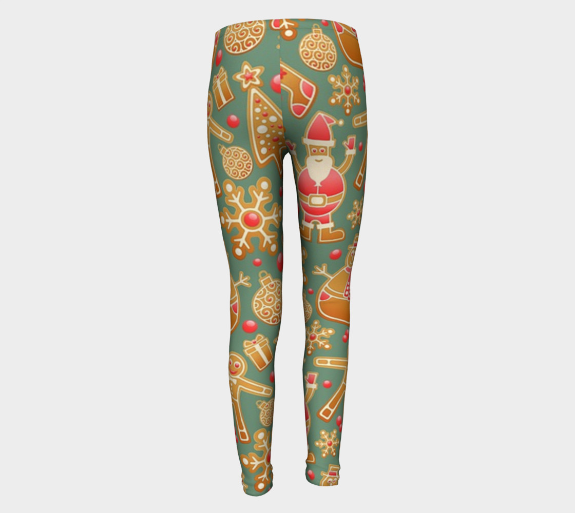 1950 Vintage Gingerbread Christmas Youth Leggings preview #5