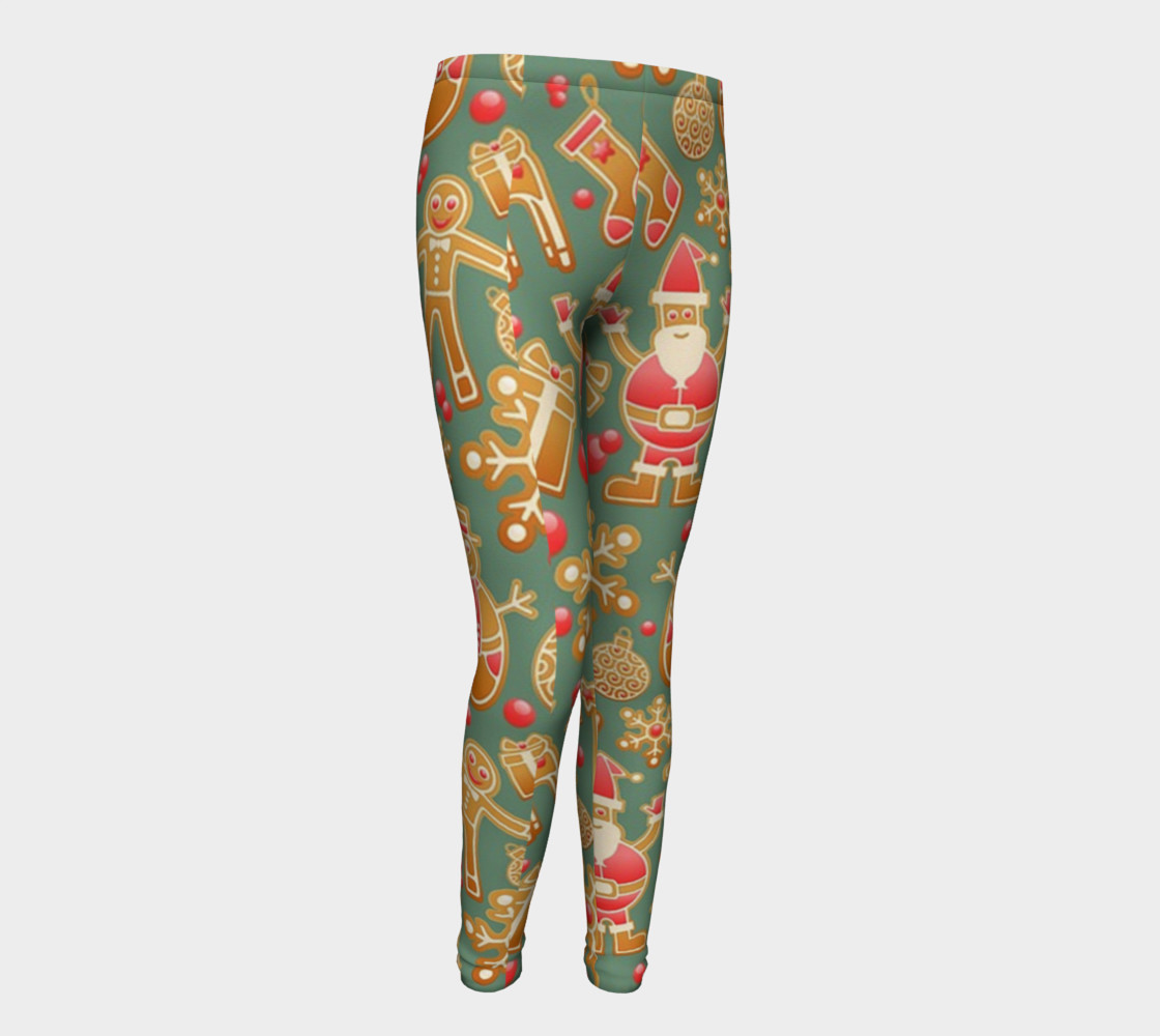 1950 Vintage Gingerbread Christmas Youth Leggings preview #1