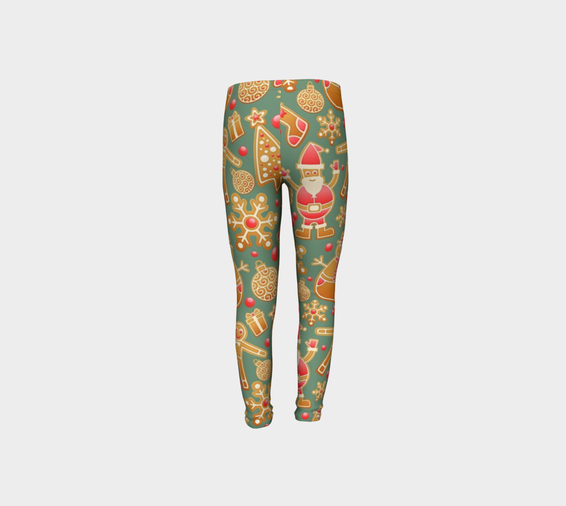1950 Vintage Gingerbread Christmas Youth Leggings preview #8