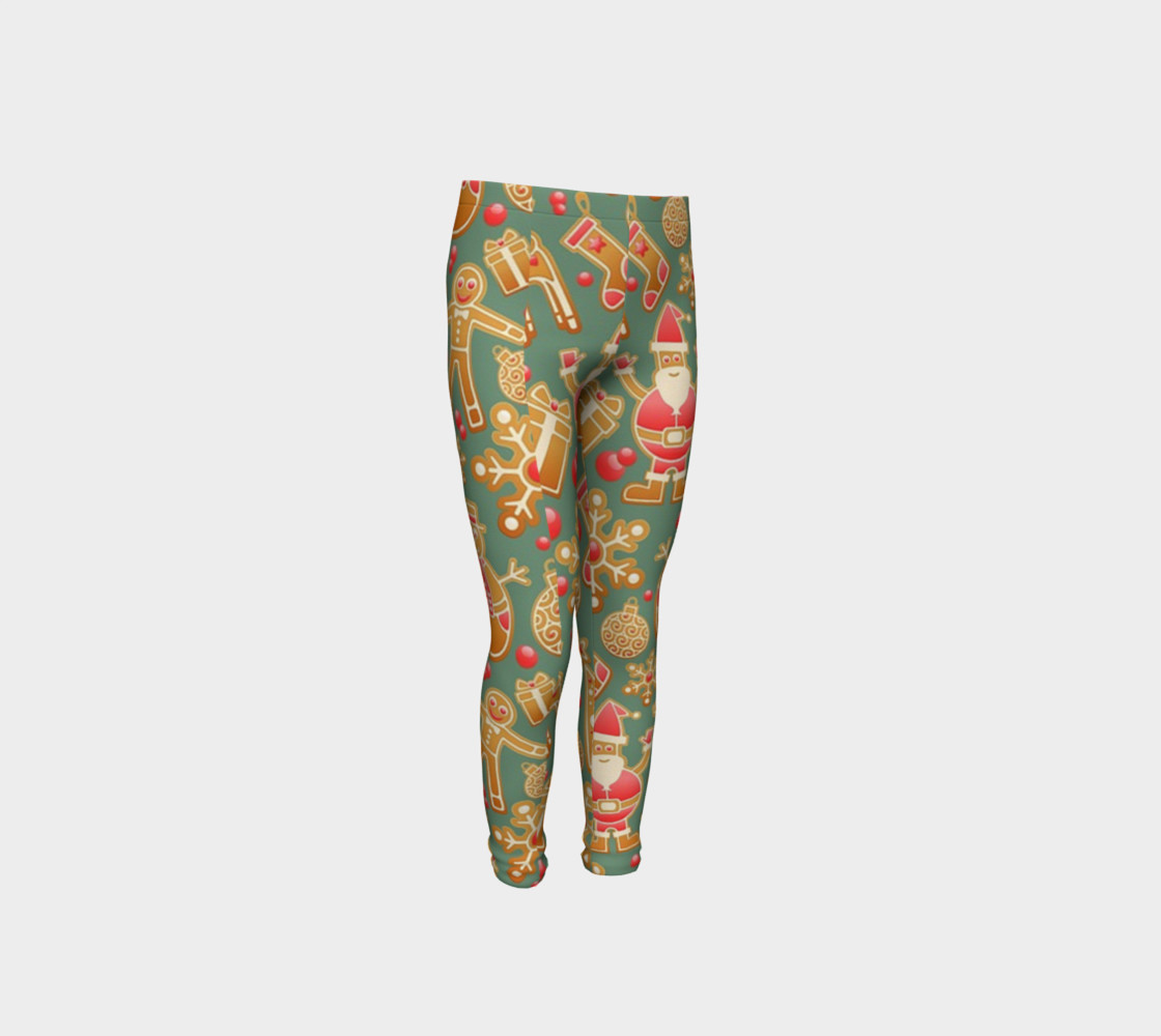 1950 Vintage Gingerbread Christmas Youth Leggings preview #4