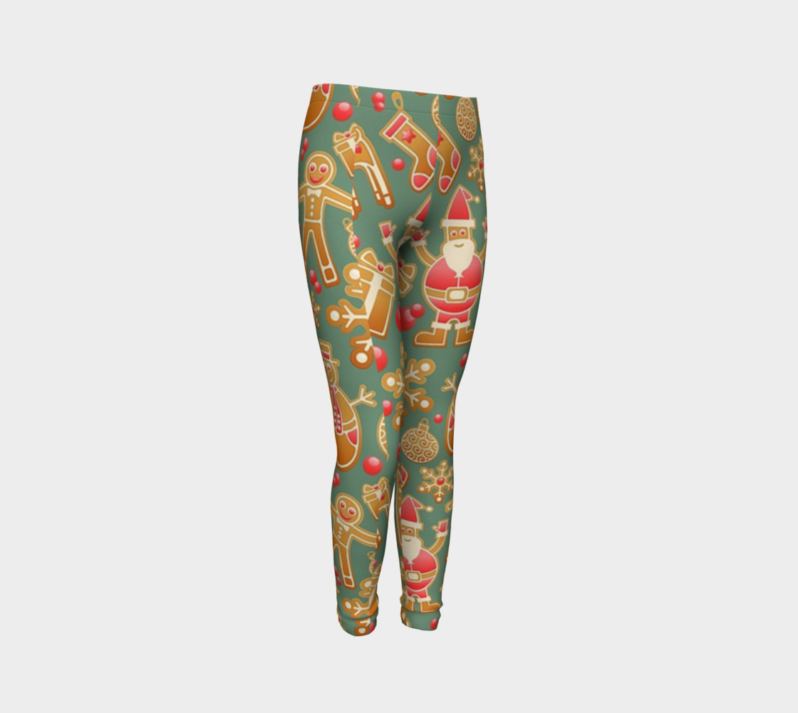 1950 Vintage Gingerbread Christmas Youth Leggings preview #3