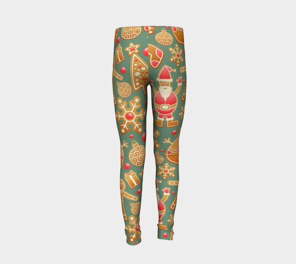 1950 Vintage Gingerbread Christmas Youth Leggings preview #6