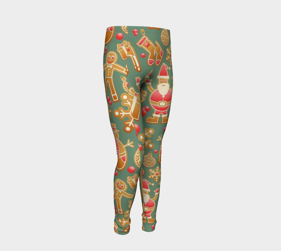 1950 Vintage Gingerbread Christmas Youth Leggings preview #2