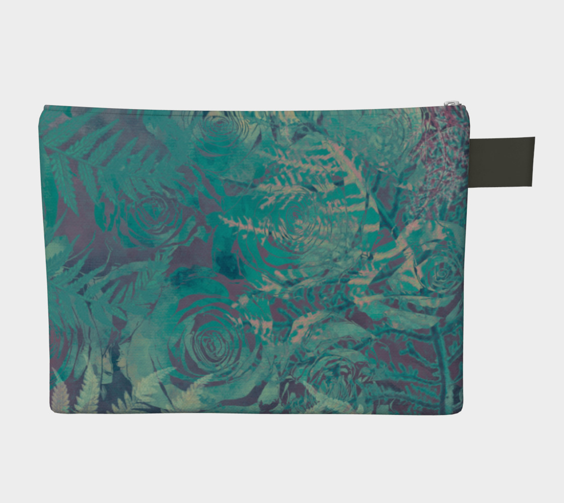 Flowers green  zipper carry all preview #2