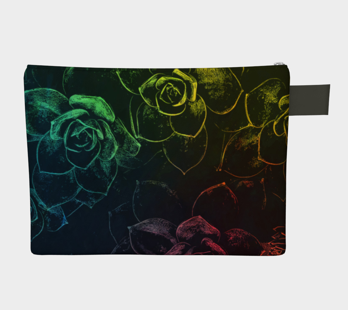 Flowers  black zipper carry all preview #2