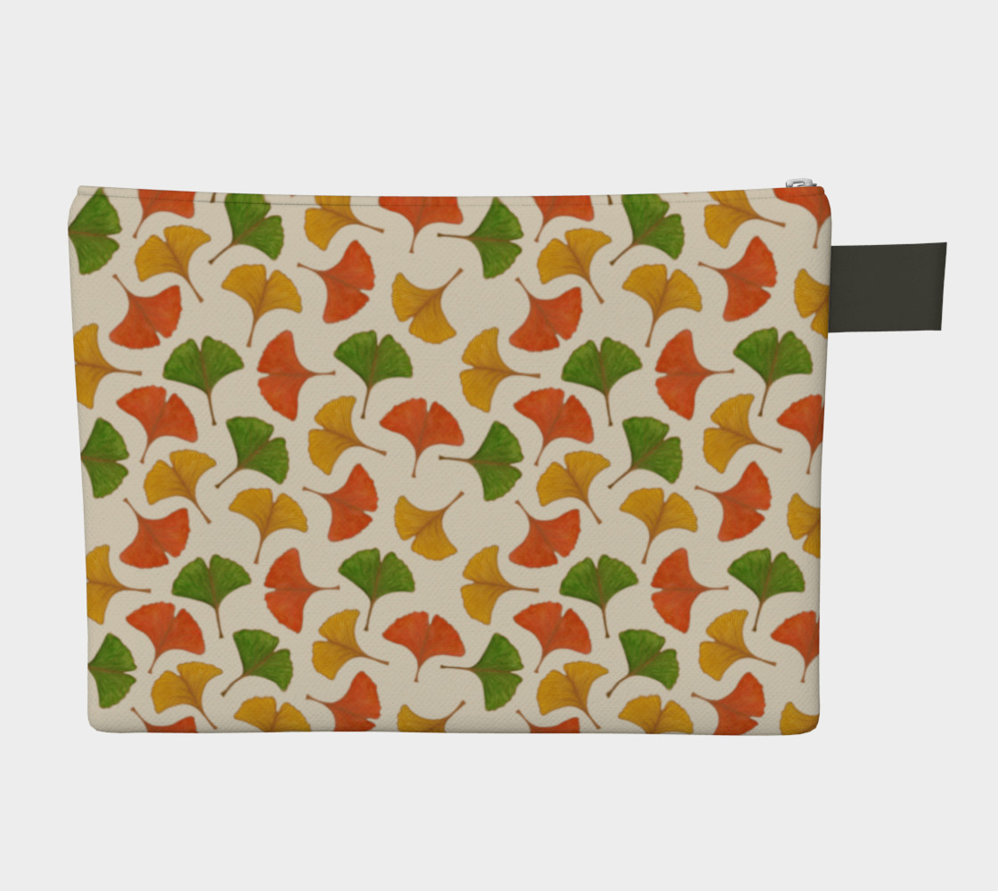 Fall ginkgo biloba leaves pattern Zipper Carry All Pouch preview #2