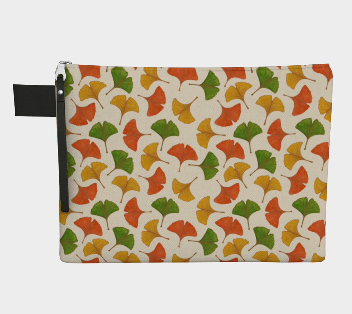 Fall ginkgo biloba leaves pattern Zipper Carry All Pouch preview #1