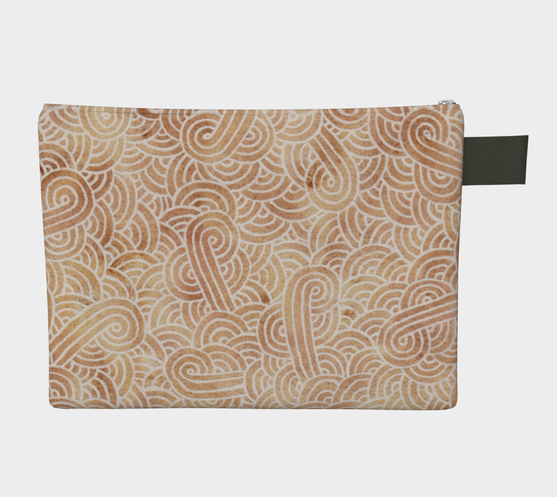 Iced coffee and white swirls doodles Zipper Carry All Pouch preview #2