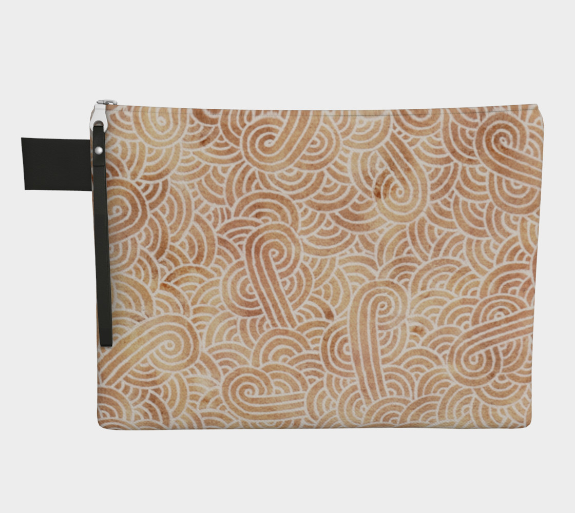 Iced coffee and white swirls doodles Zipper Carry All Pouch 3D preview