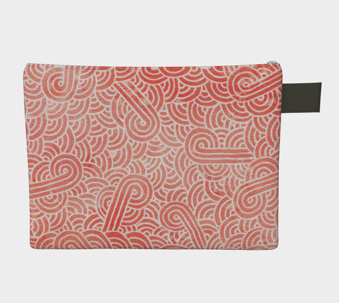 Peach echo and white swirls doodles Zipper Carry All Pouch preview #2