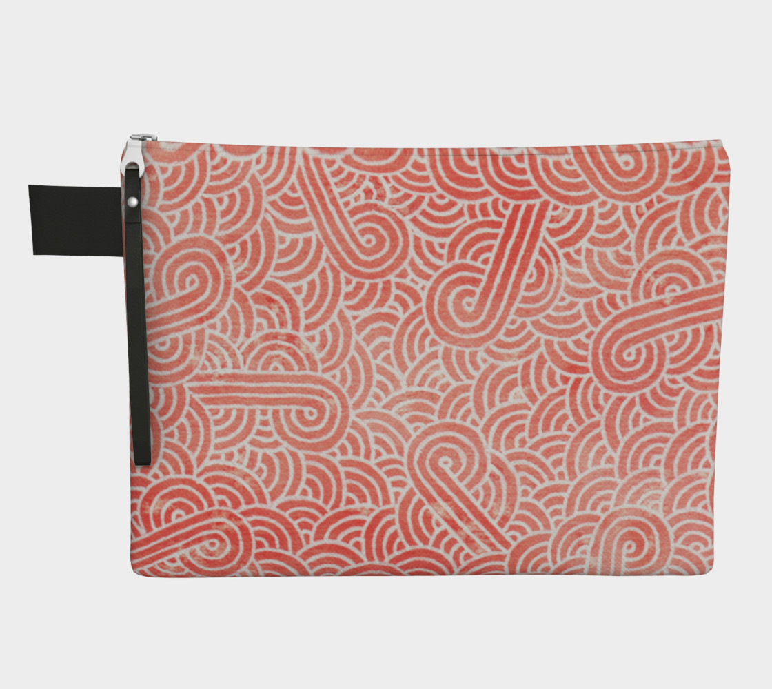Peach echo and white swirls doodles Zipper Carry All Pouch preview #1