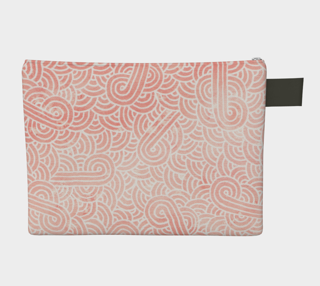 Rose quartz and white swirls doodles Zipper Carry All Pouch preview #2