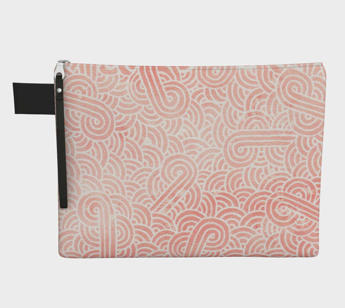 Rose quartz and white swirls doodles Zipper Carry All Pouch preview #1