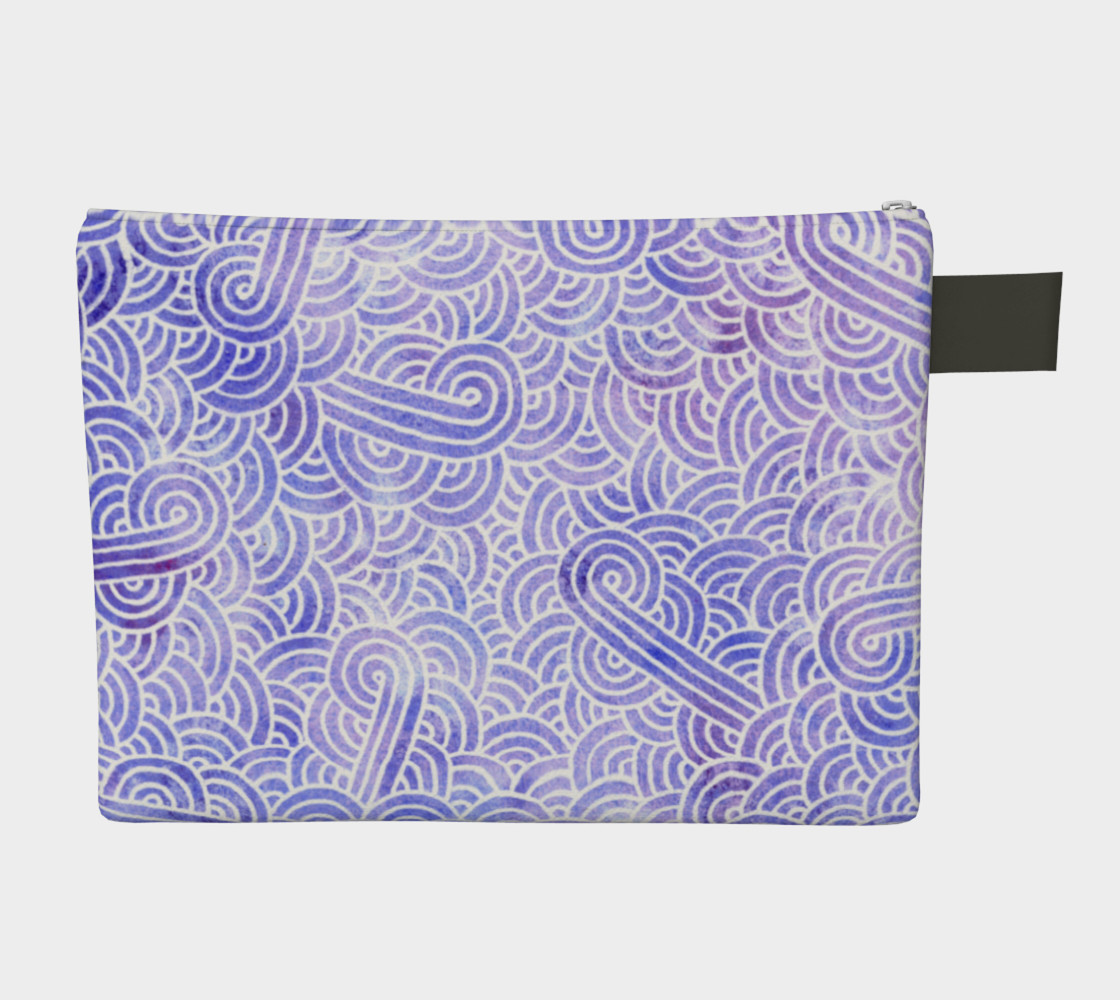 Lavender and white swirls doodles Zipper Carry All Pouch preview #2