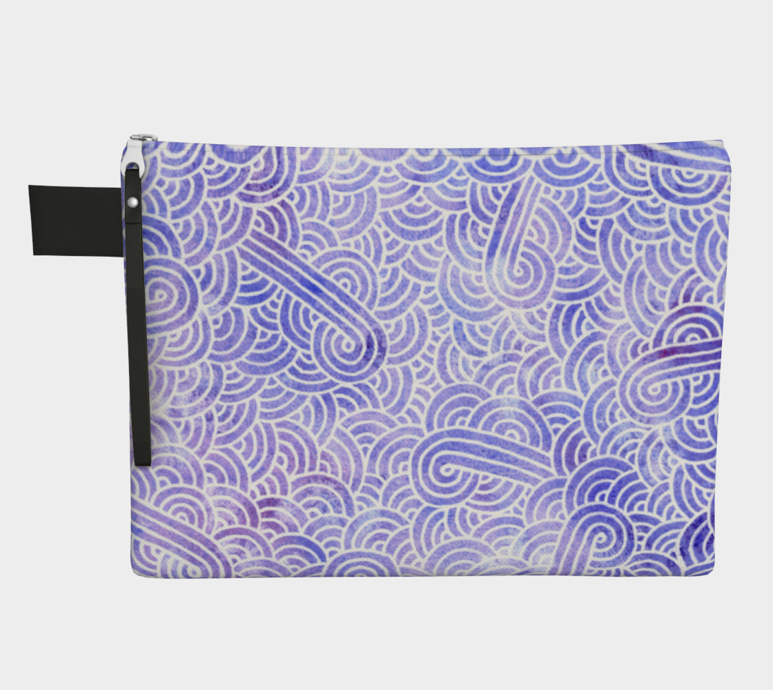 Lavender and white swirls doodles Zipper Carry All Pouch preview #1